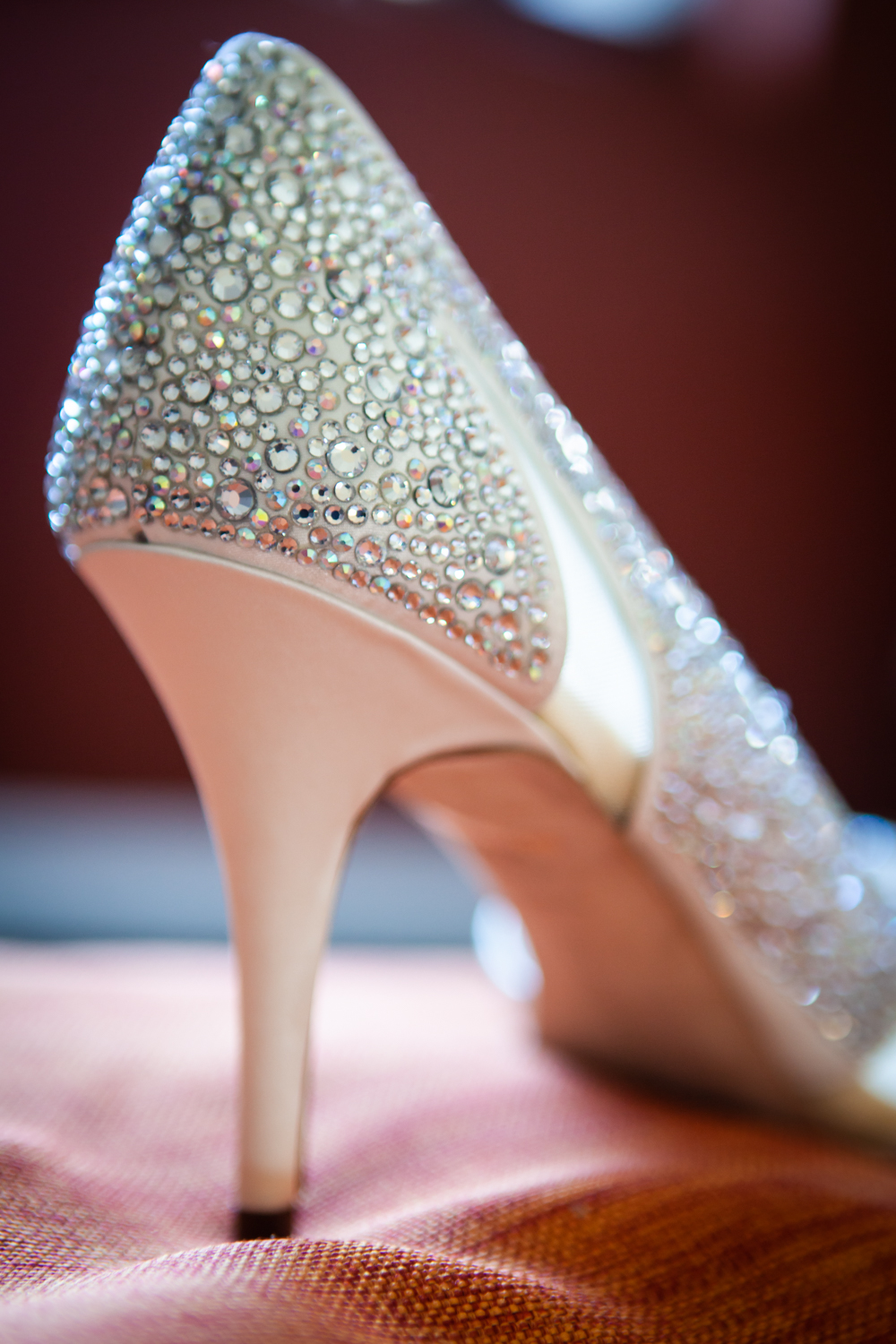 Heel of shoe encrusted with diamond-like sequins