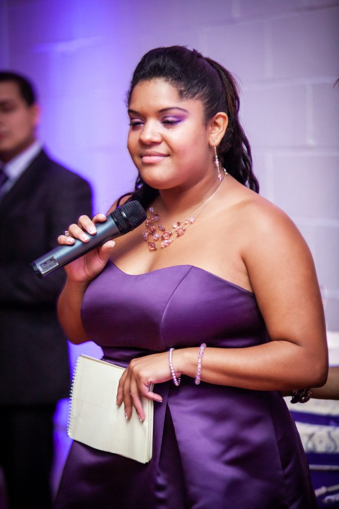 Maid of honor making speech at an Attic Studios wedding