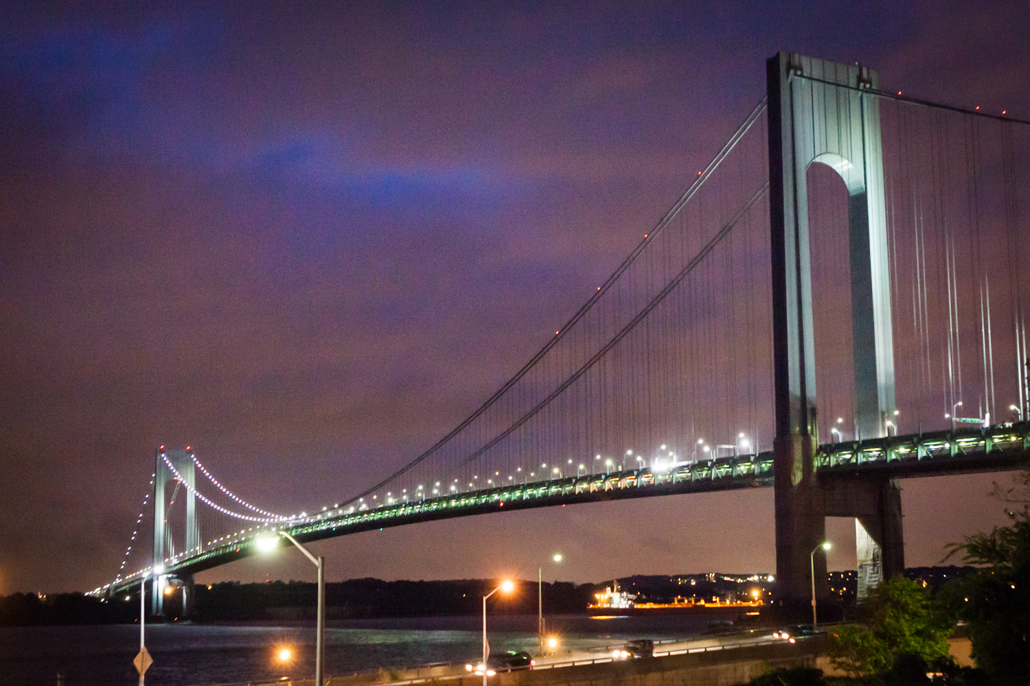 View of the Verrazzano-Narrows Bridge at night