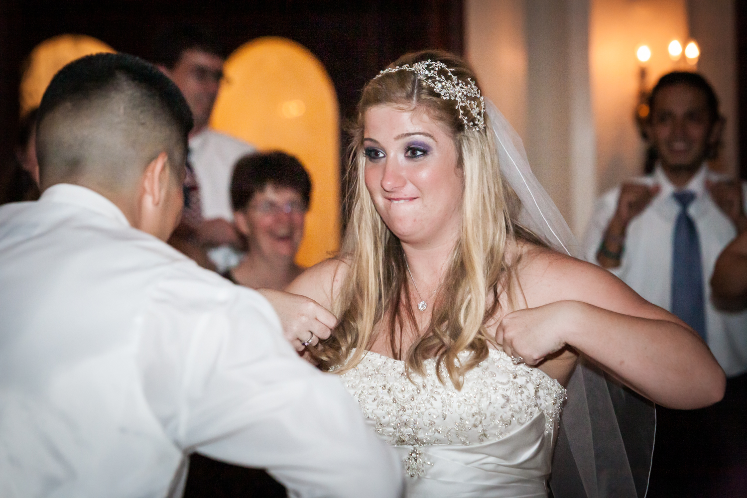 Bride doing chicken dance at a Fort Hamilton Community Center wedding