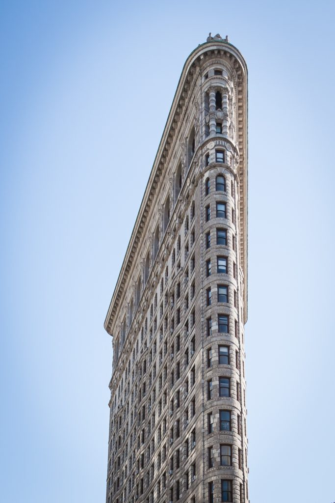 Flatiron building against blue sky