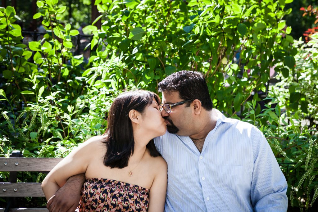 Couple kissing during a Madison Square Park engagement session