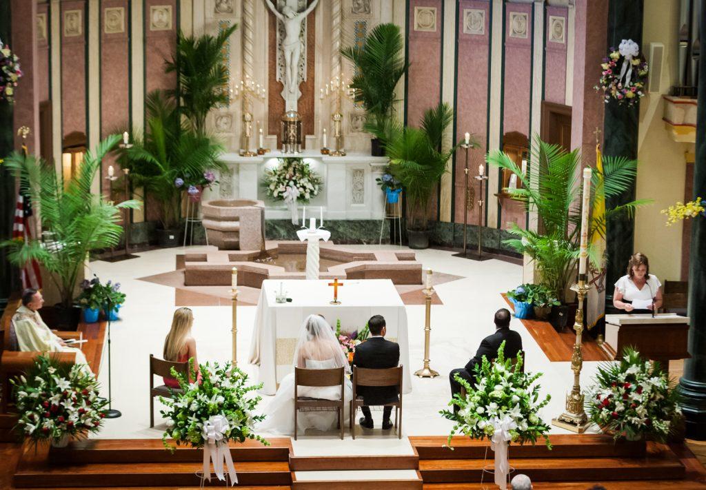 Speaker during St. Joseph's Church wedding ceremony