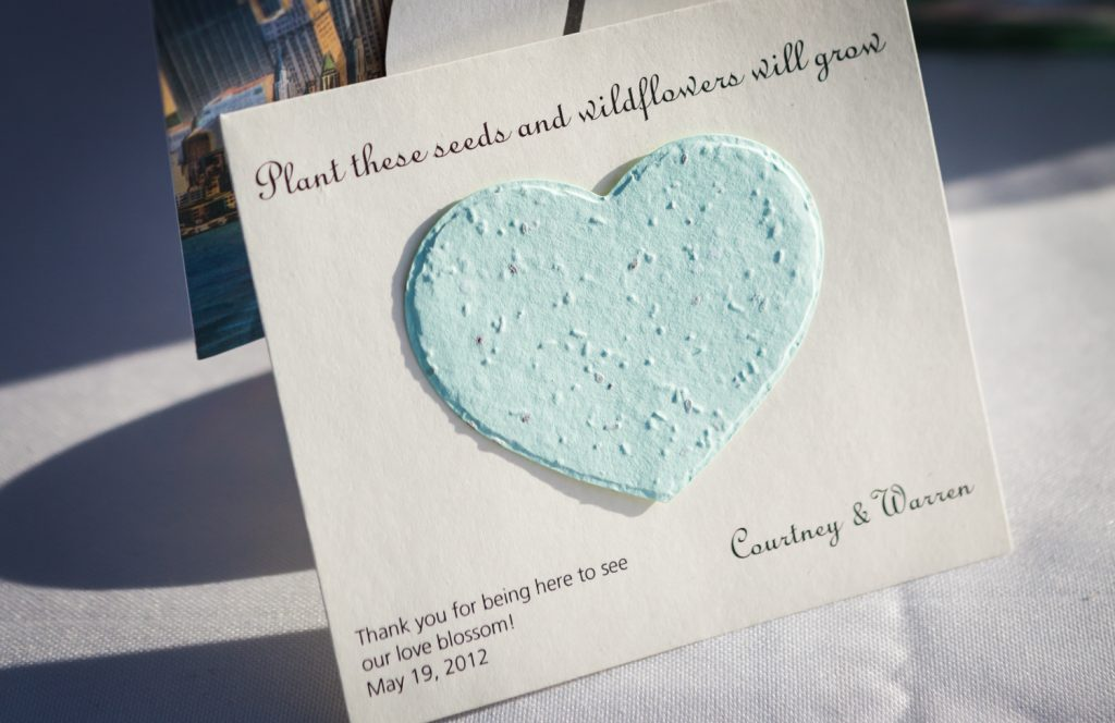 Guest favor of seeds in the shape of a heart at a Ravel Hotel Penthouse wedding