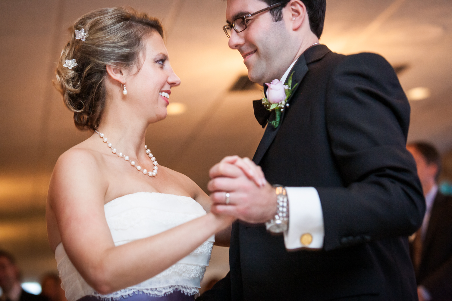 Bride and groom during first dance at a Davenport Mansion wedding