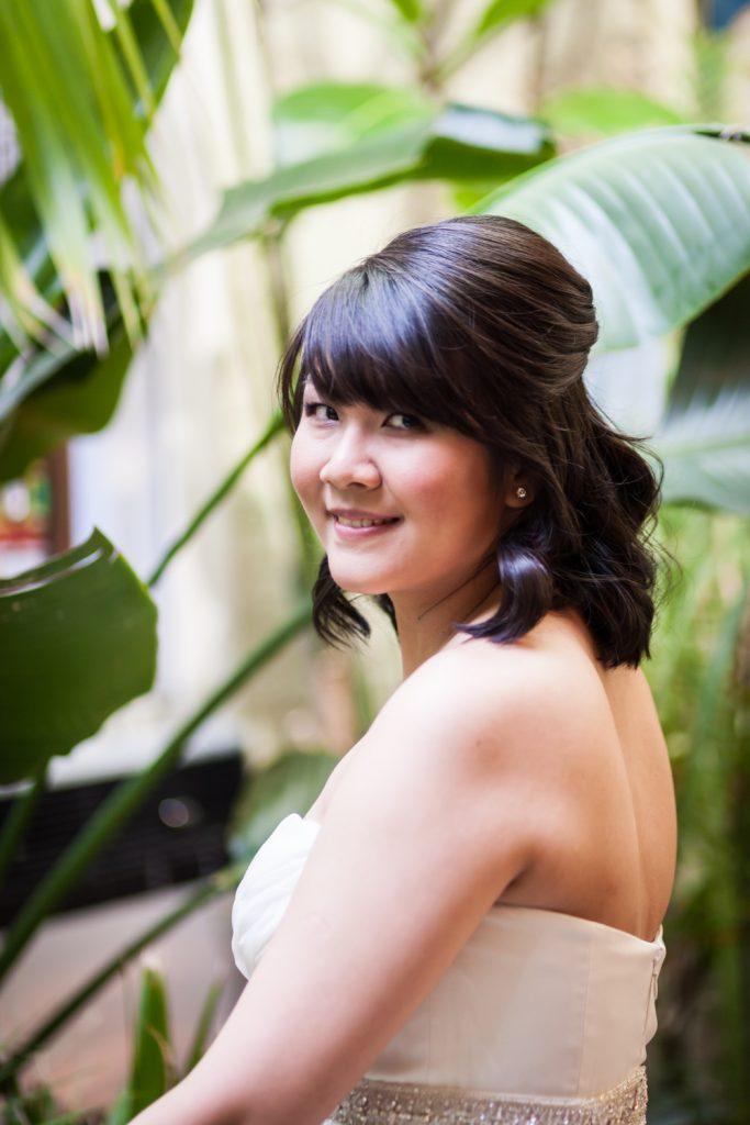 Portrait of bride looking over shoulder at an Alger House wedding