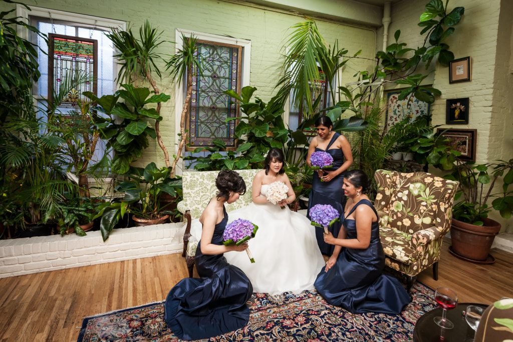 Bride and bridesmaids in bridal suite at an Alger House wedding