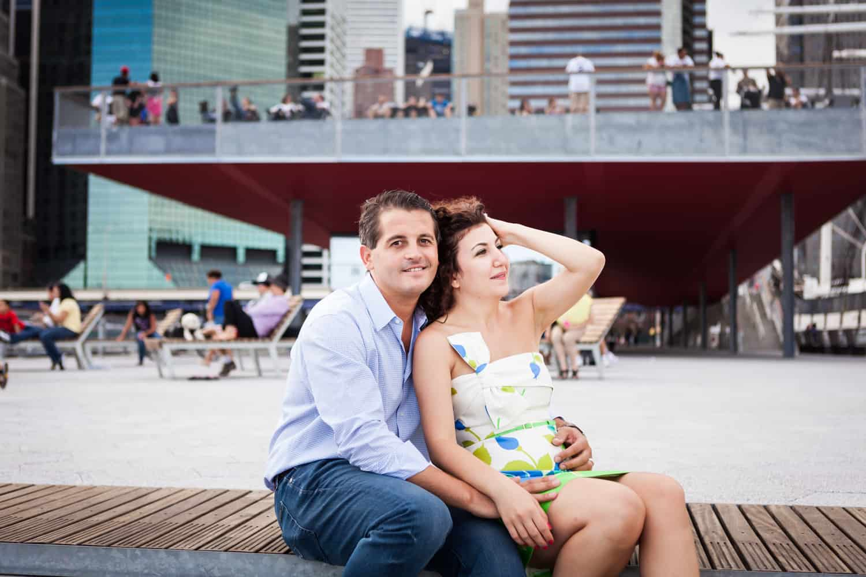 Couple sitting on Pier 15