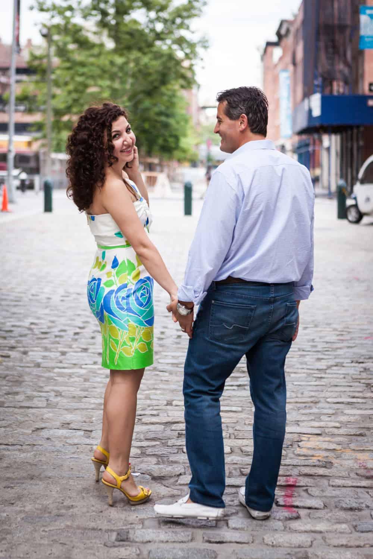 Couple walking along South Street Seaport