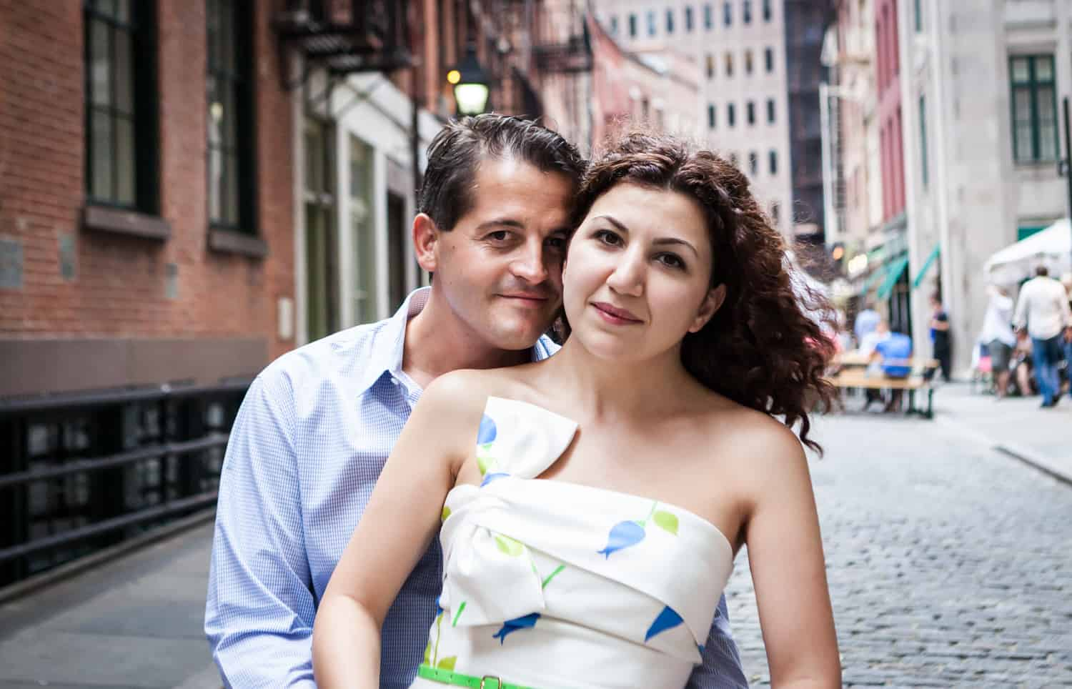 Couple standing in front of Stone Street