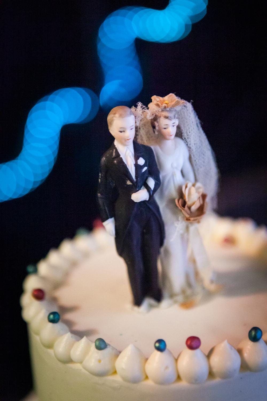 Close up on vintage wedding topper