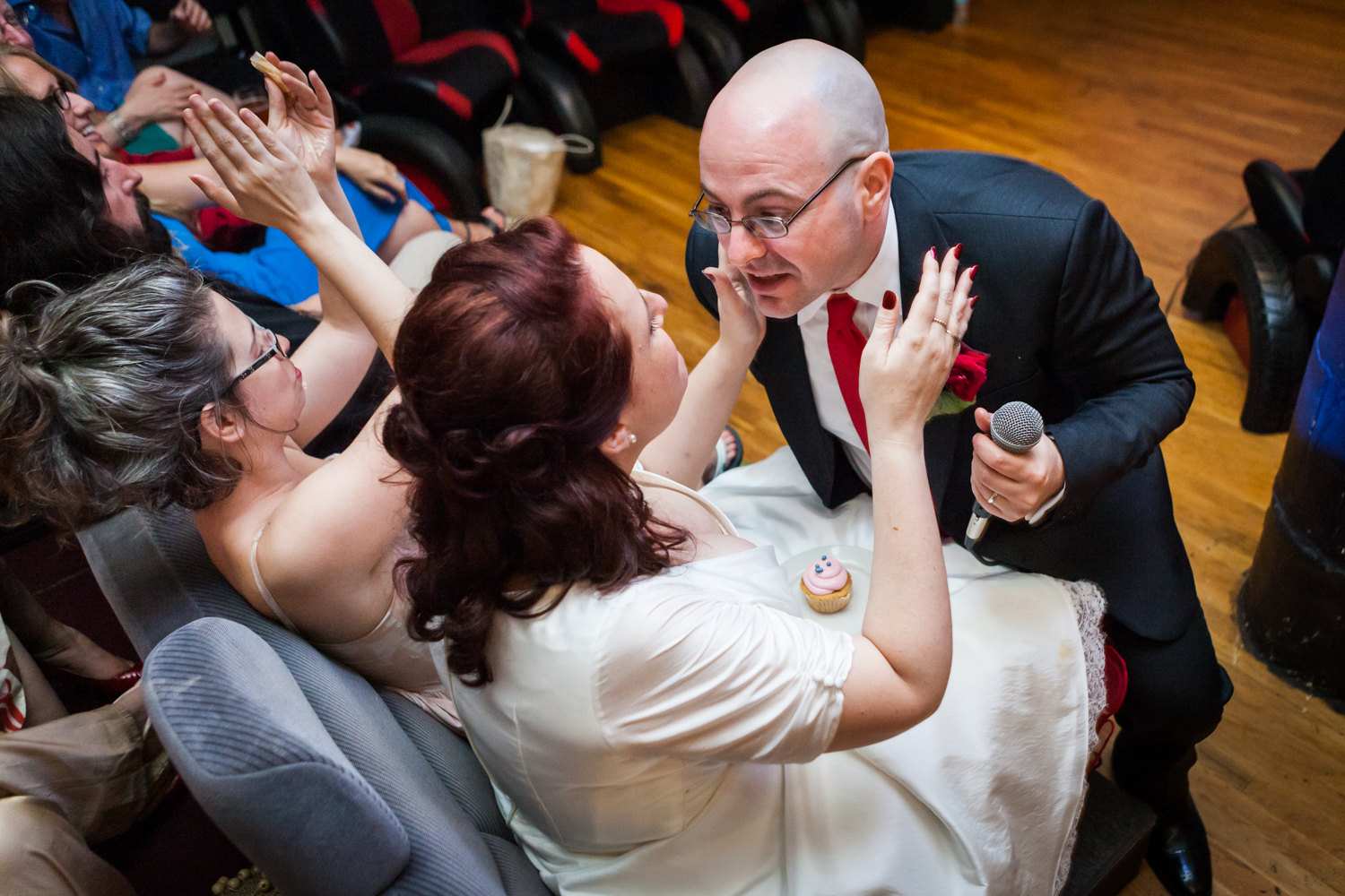 Groom bending down to bride at a DUMBO wedding