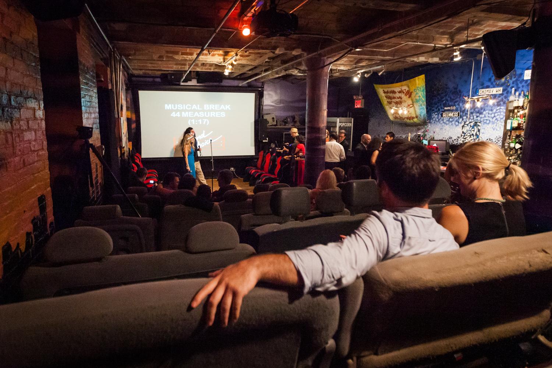 Wide shot of screening room at reBar