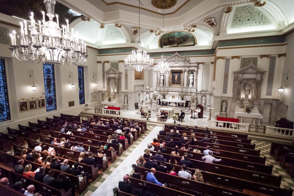 Wide shot of St. Peter's Church wedding ceremony