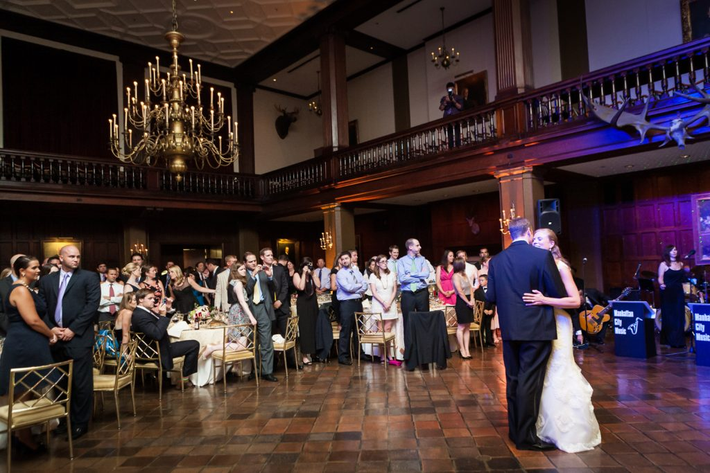 Wide shot of bride and groom during first dance at a Harvard Club NYC wedding