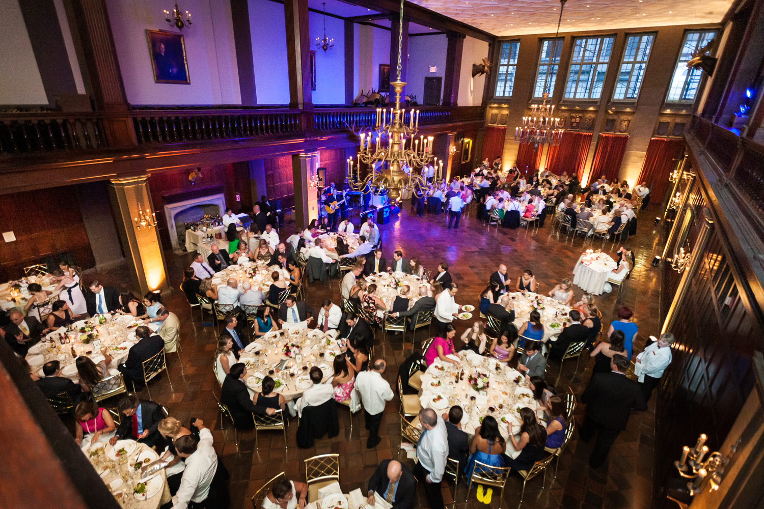 Wide shot of ballroom at Harvard Club during wedding reception
