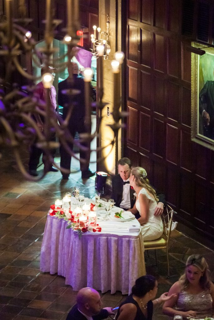 View from balcony of bride and groom at sweetheart table at Harvard Club