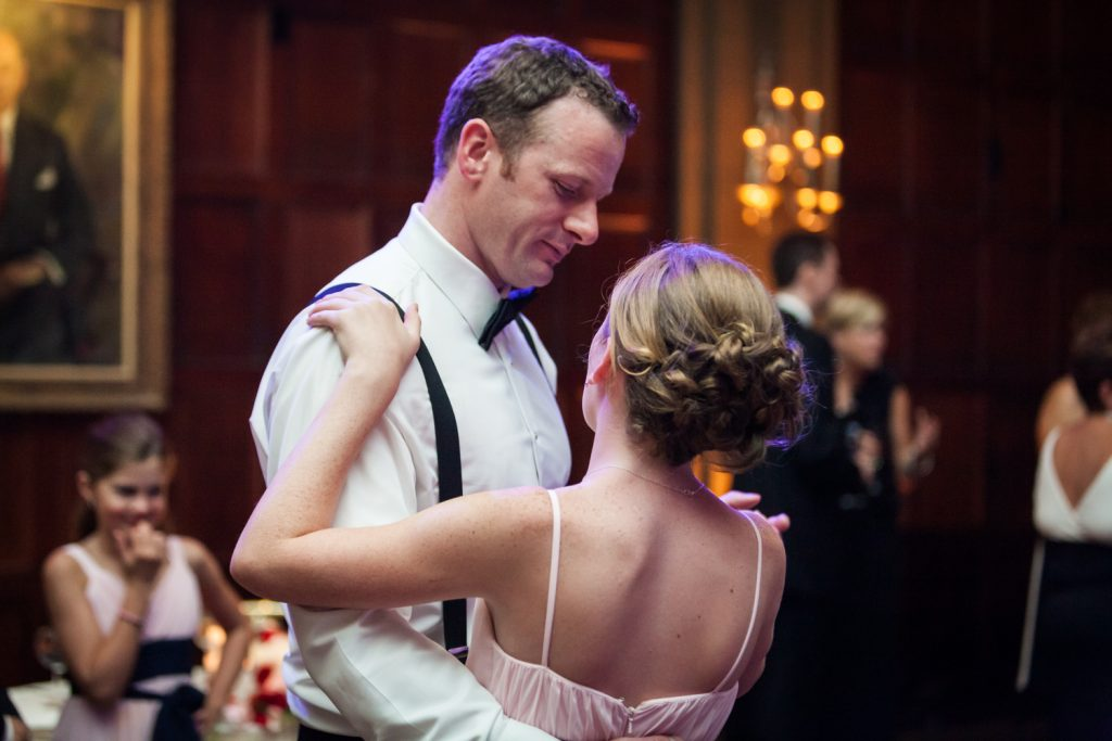 Groom dancing with young girl at a Harvard Club NYC wedding