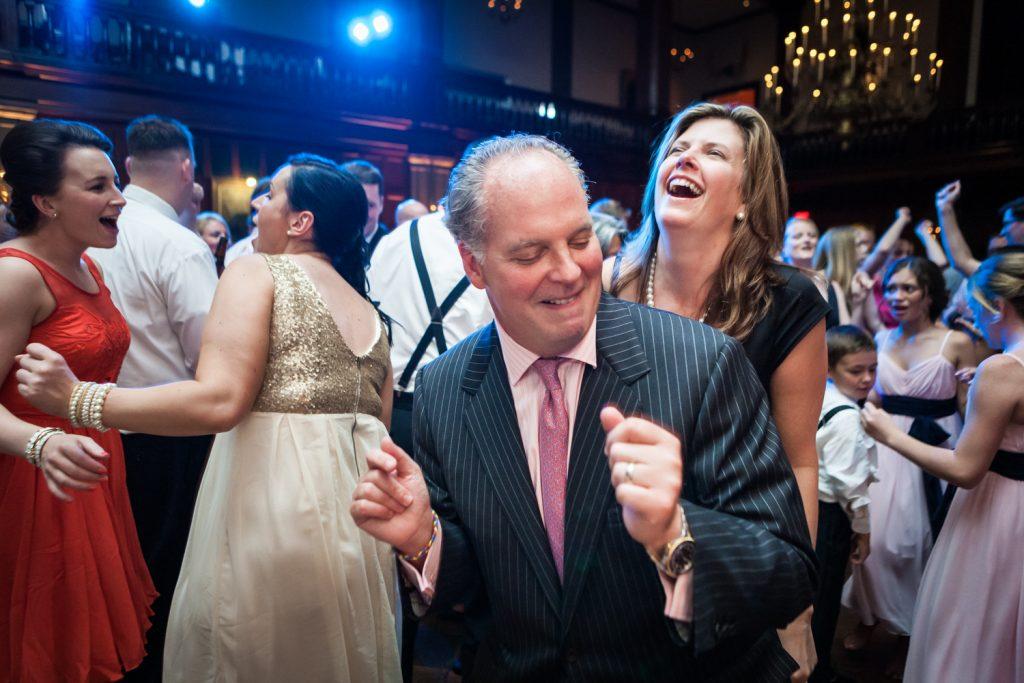 Guests dancing during reception at a Harvard Club NYC wedding