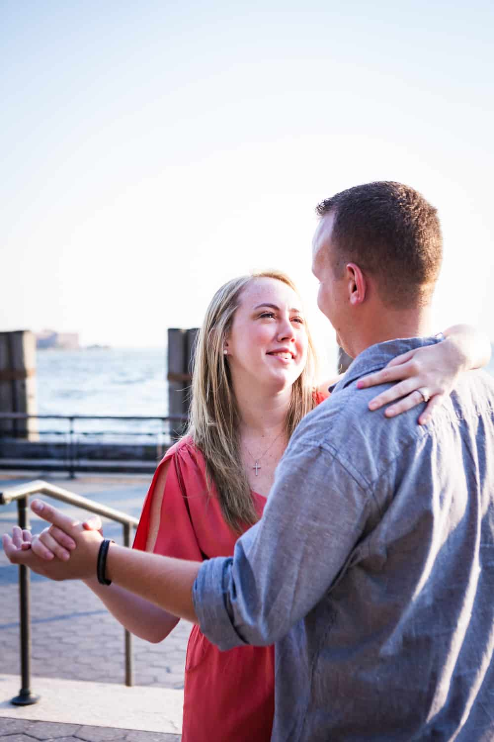 Couple dancing at a Battery Park engagement shoot