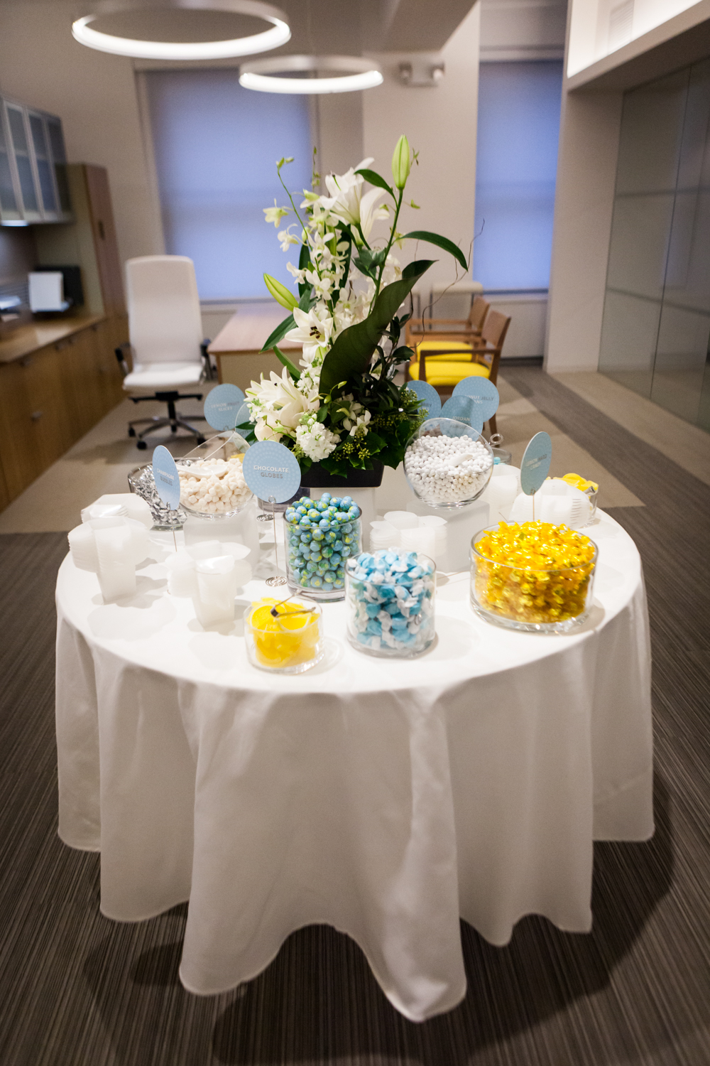 Table full of candy at a corporate cocktail party