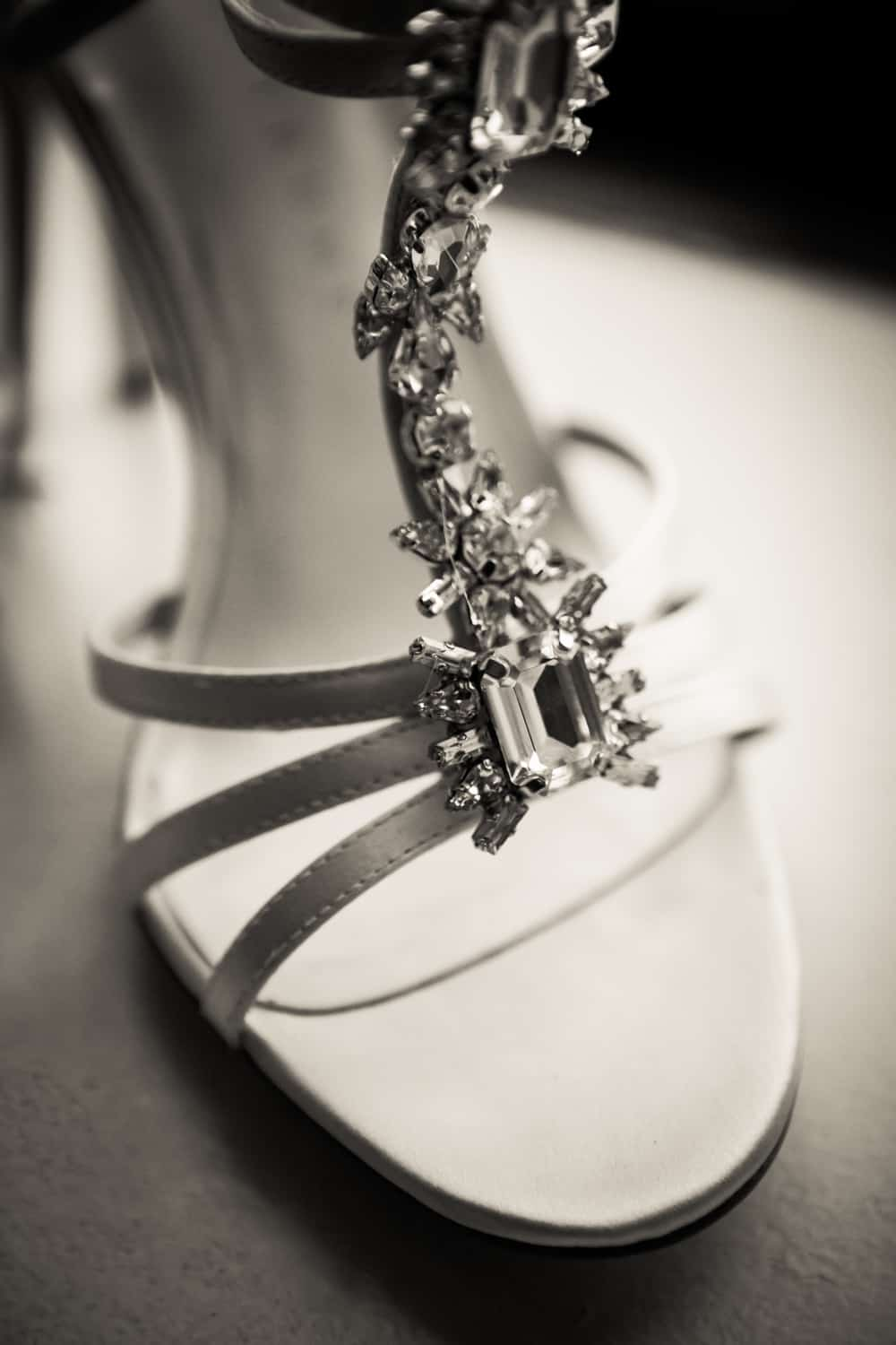 Black and white photo of high-heeled sandal