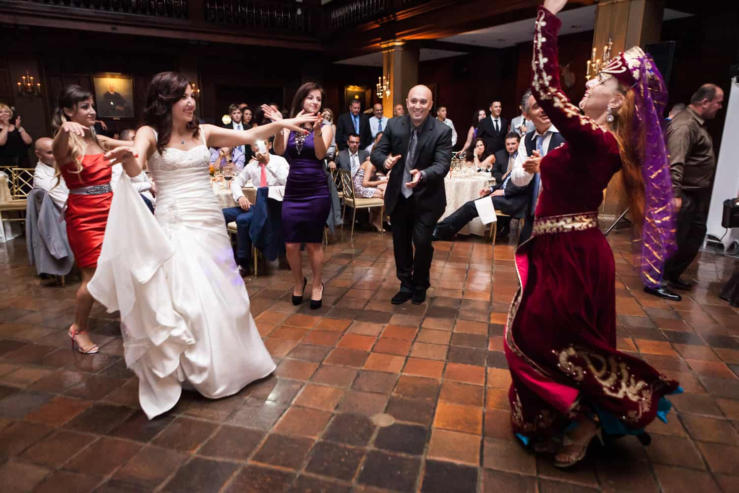 Bride dancing with dancer at a Harvard Club wedding
