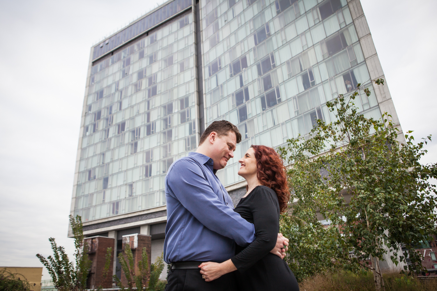 Couple hugging in front of the Standard Hotel