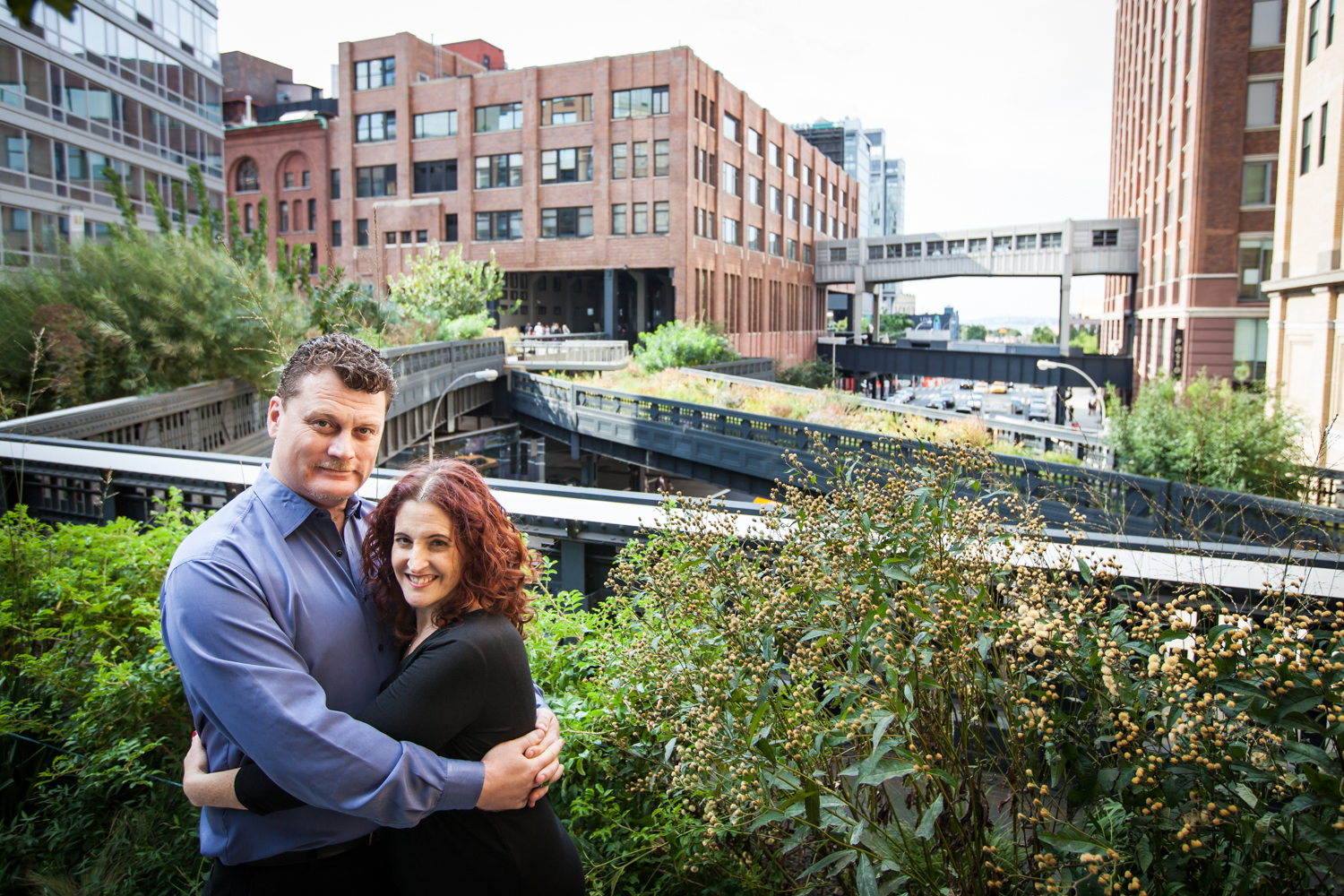 High Line engagement photos of couple in front of observation deck