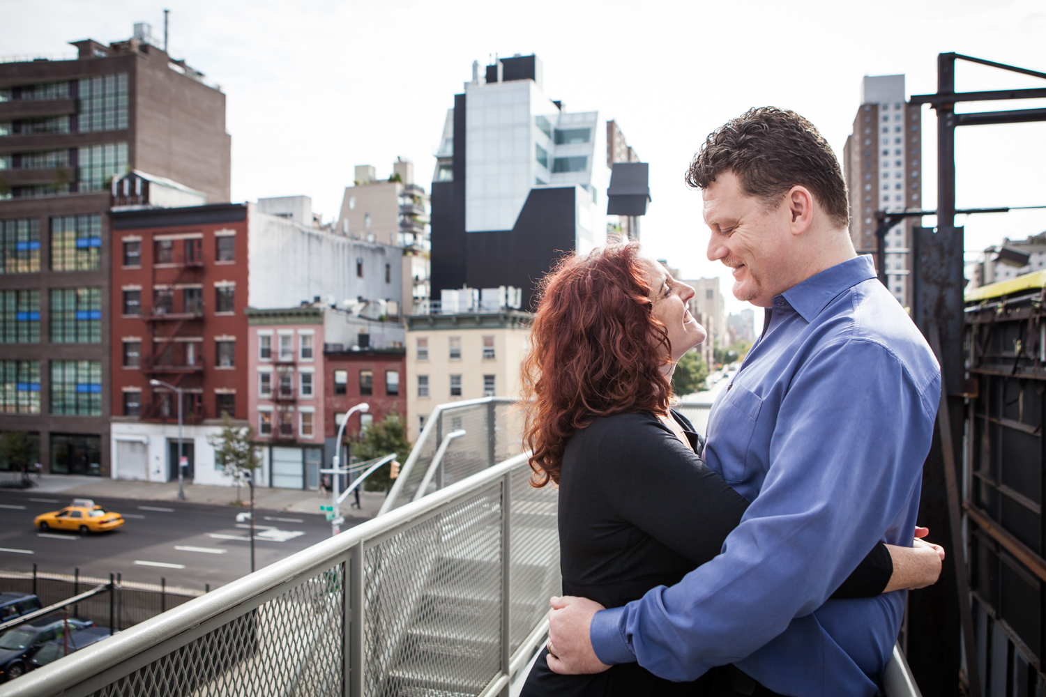 Couple hugging at 18th Street entrance to High Line