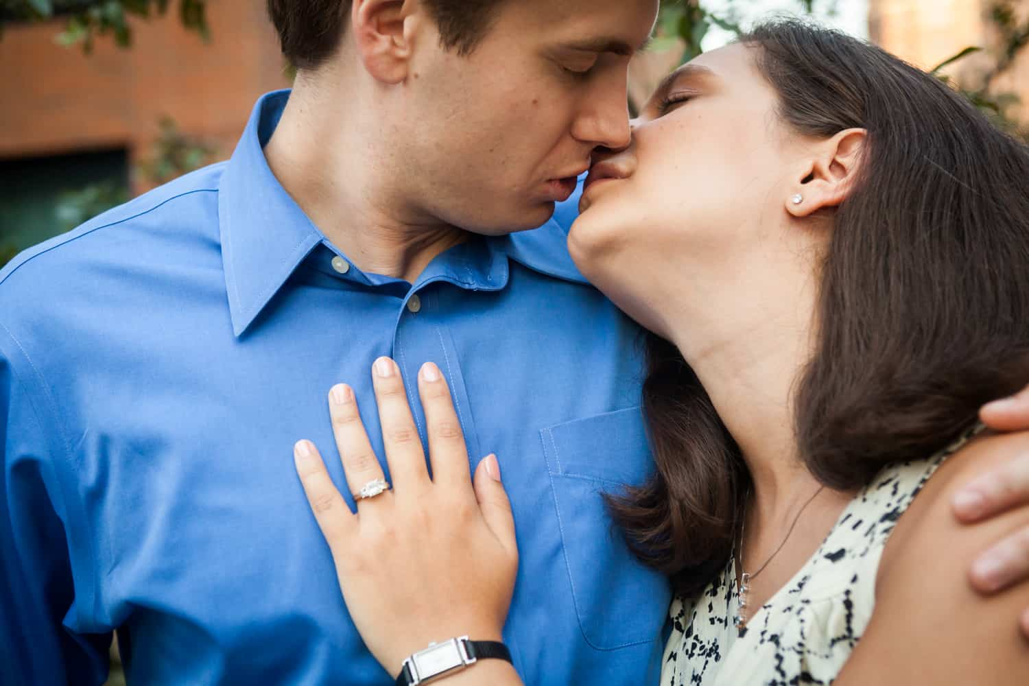 Close up of couple kissing during High Line engagement session