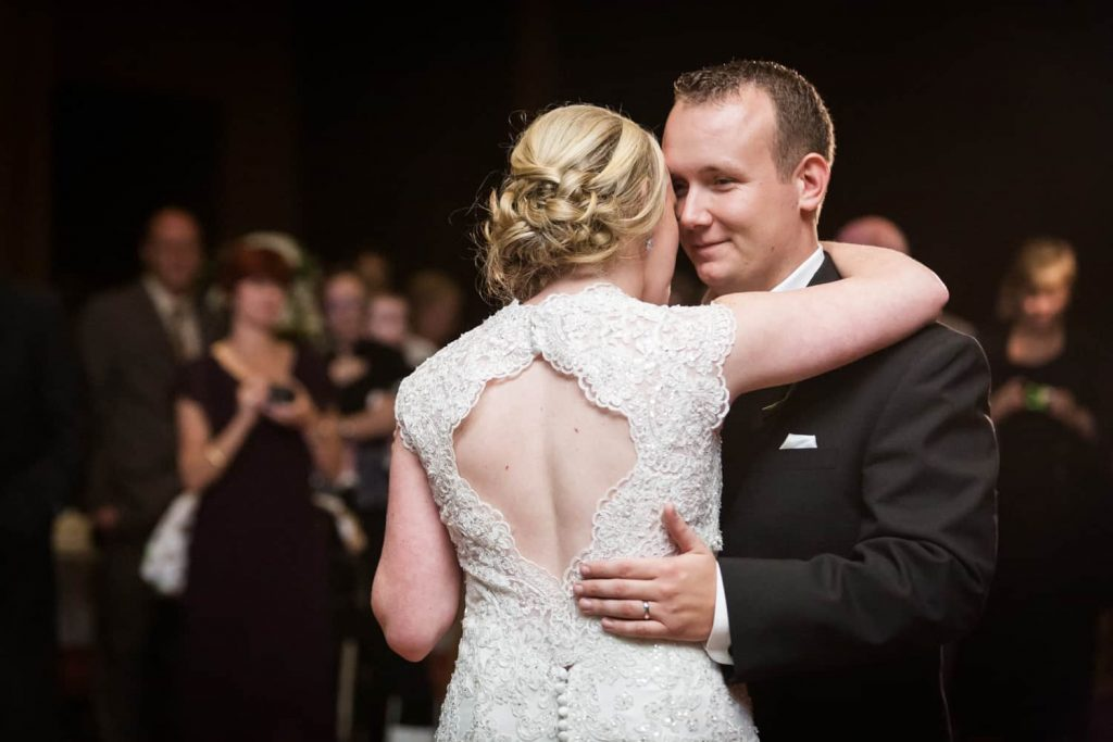 Bride and groom during first dance at a Nicotra's Ballroom wedding