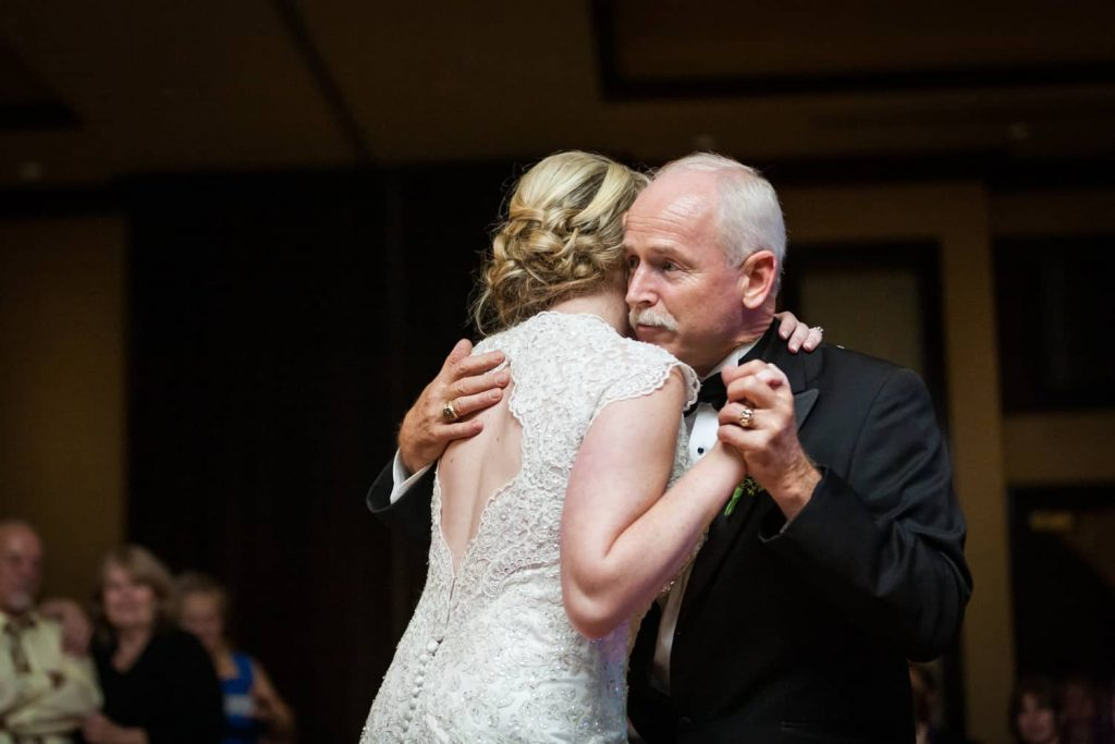Father dancing with bride at a Nicotra's Ballroom wedding