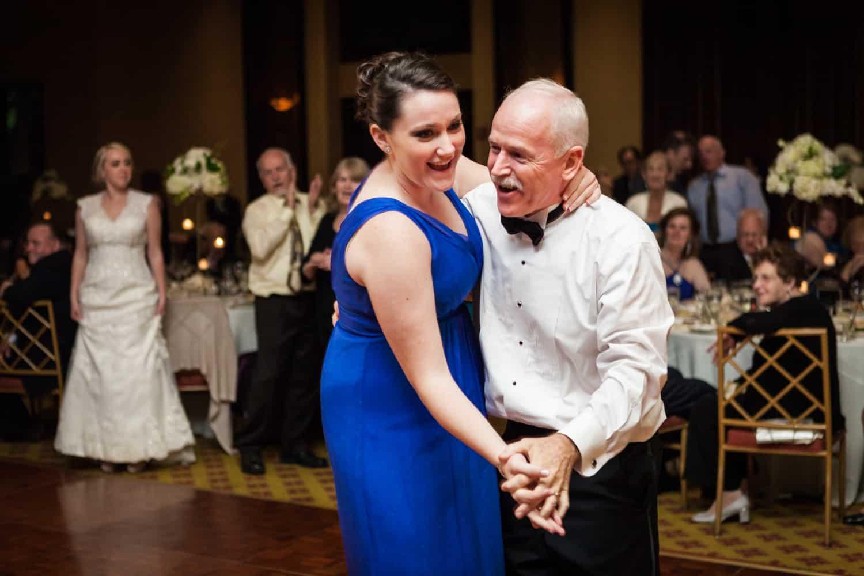 Father dancing with bridesmaid at a Nicotra's Ballroom wedding
