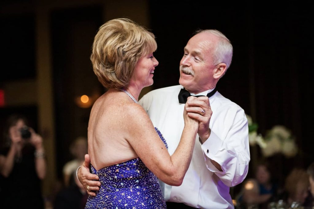 Father and mother of the bride dancing at a Nicotra's Ballroom wedding