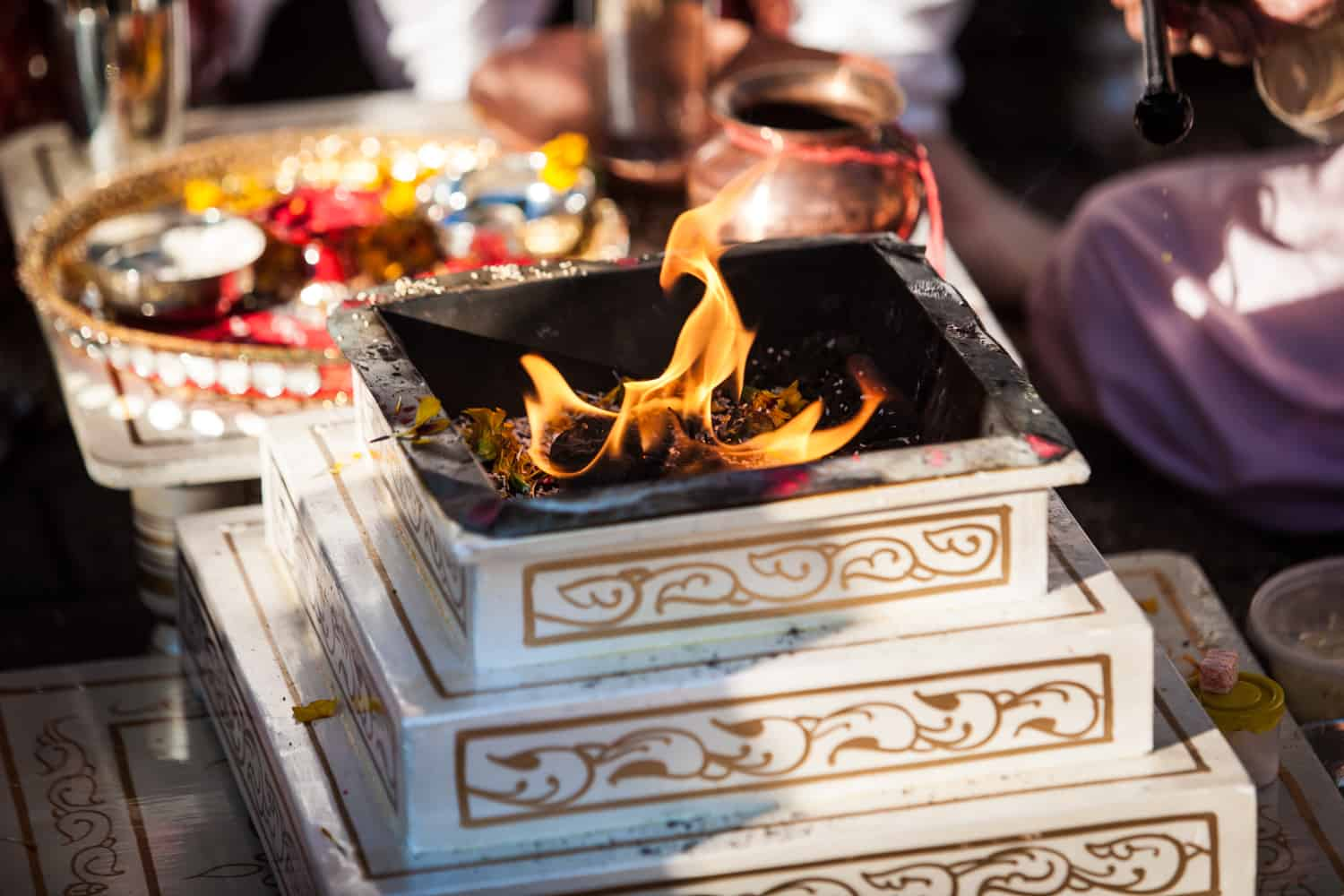 Close up on fire during traditional Hindu wedding ceremony