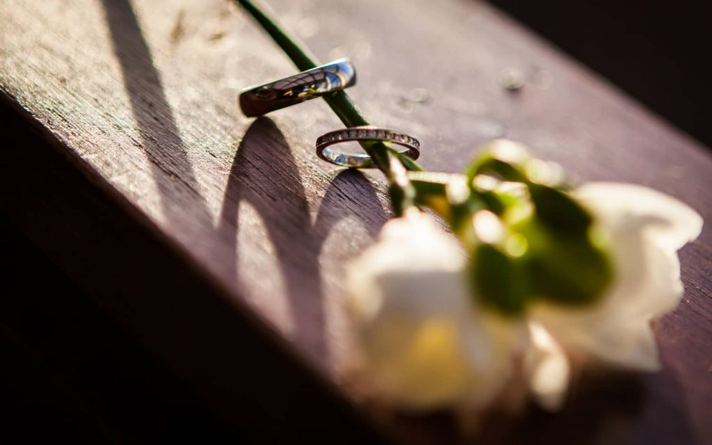 Flower stem holding wedding rings