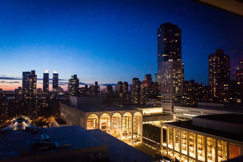 View of Lincoln Center and Upper West Side at night from Empire Hotel roof