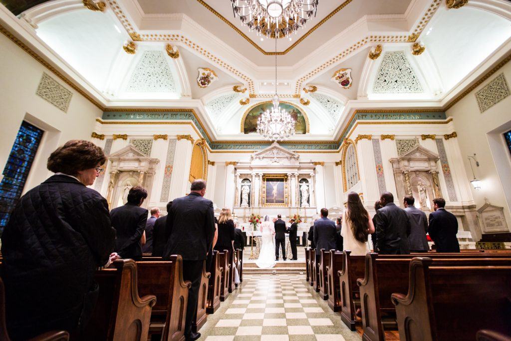Wide shot of St. Peter's Church wedding