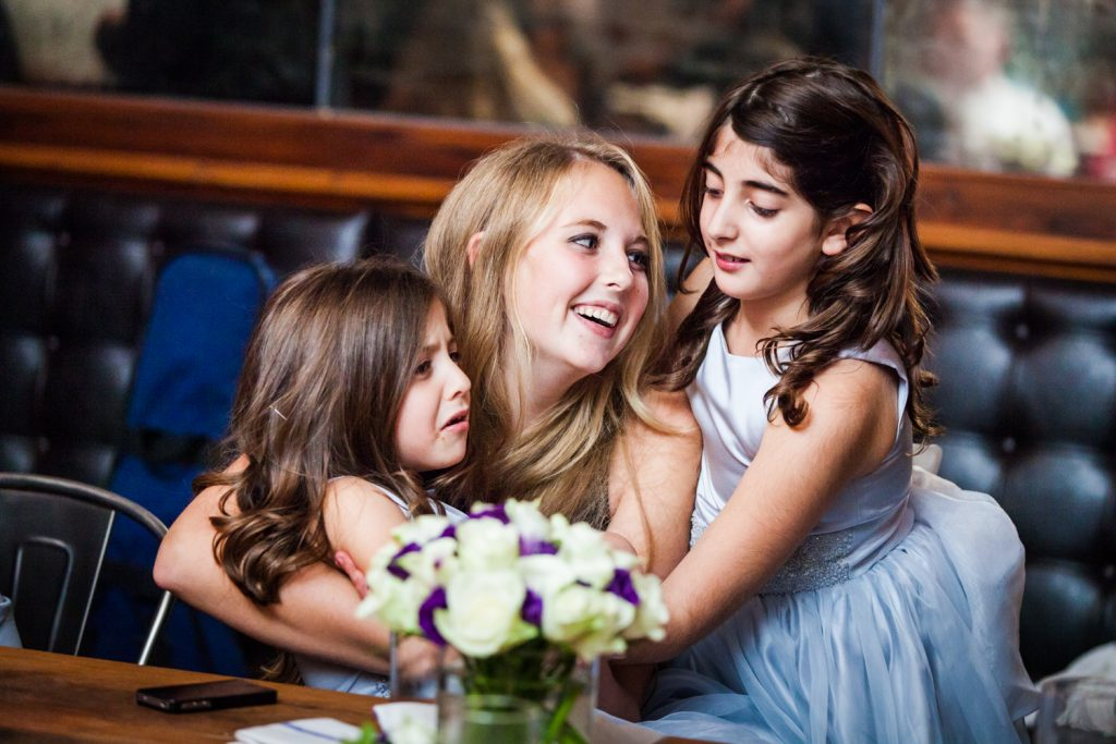 Female guest with two children at a Locanda Verde wedding