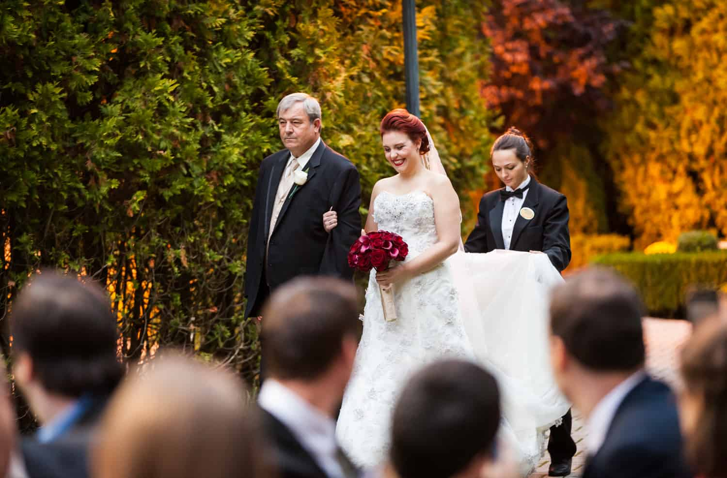 Nicotra's Ballroom wedding photos of bride and father walking to ceremony