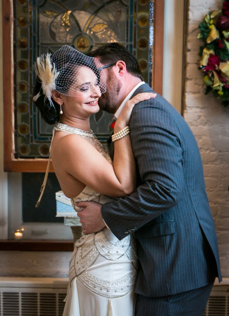 Alger House wedding photos of couple kissing after ceremony