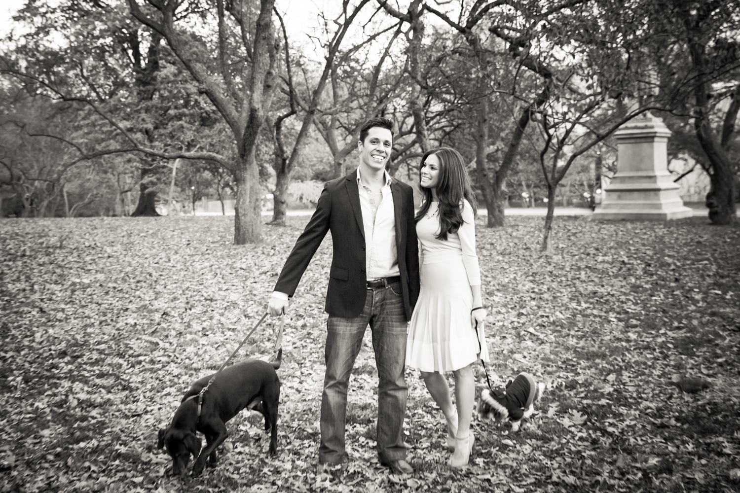 Black and white photo of couple walking with two dogs in Central Park