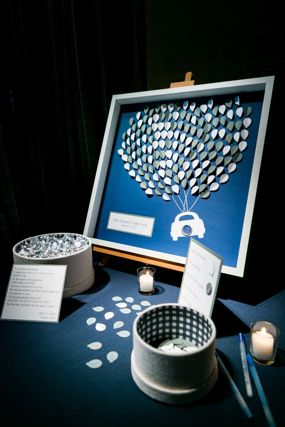 Guest book in form of framed balloons and box of candy