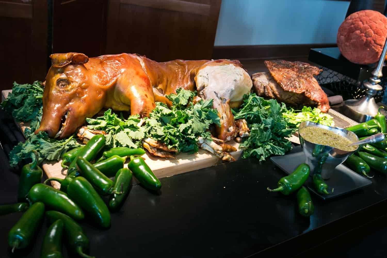 Pig roast on food buffet