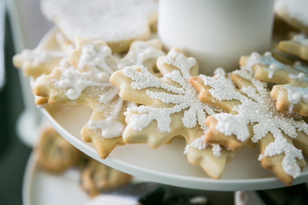 Close up of snowflake-shaped cookies at a Long Island City wedding brunch
