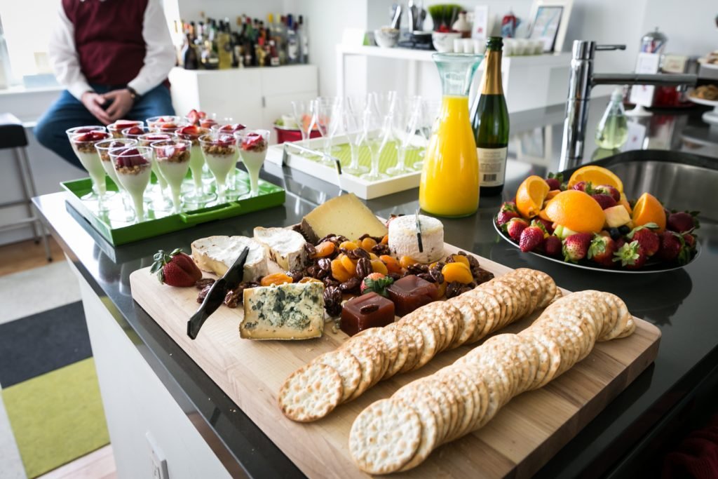 Buffet of cheese and crackers at a Long Island City wedding brunch