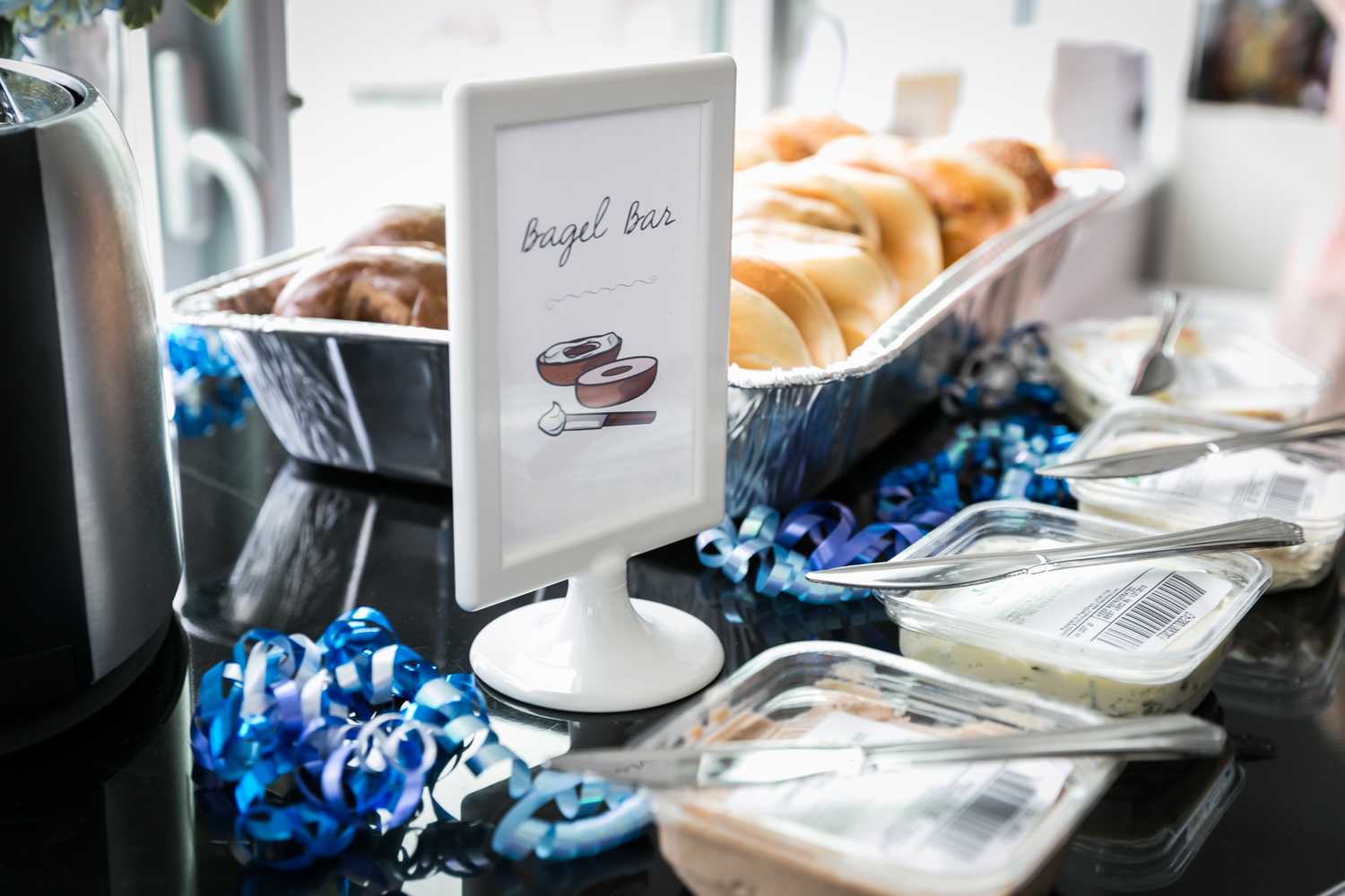 Buffet of bagels and spreads at a Long Island City wedding brunch
