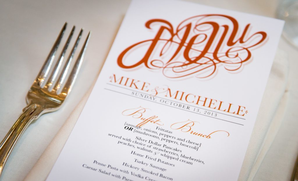 Close up on personalized menu card