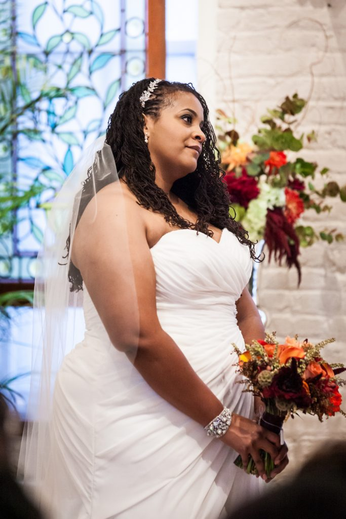 Alger House wedding portraits of bride during ceremony